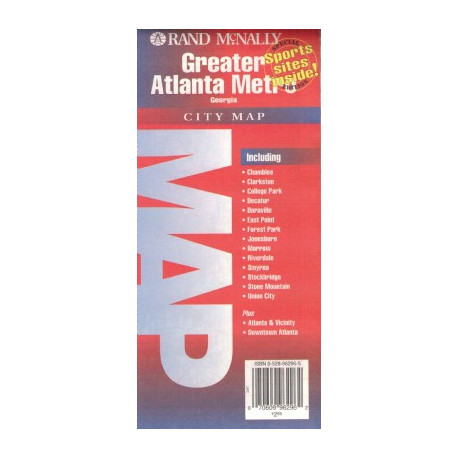 GREATER ATLANTA METRO CITY MAP RAND MCNALLY